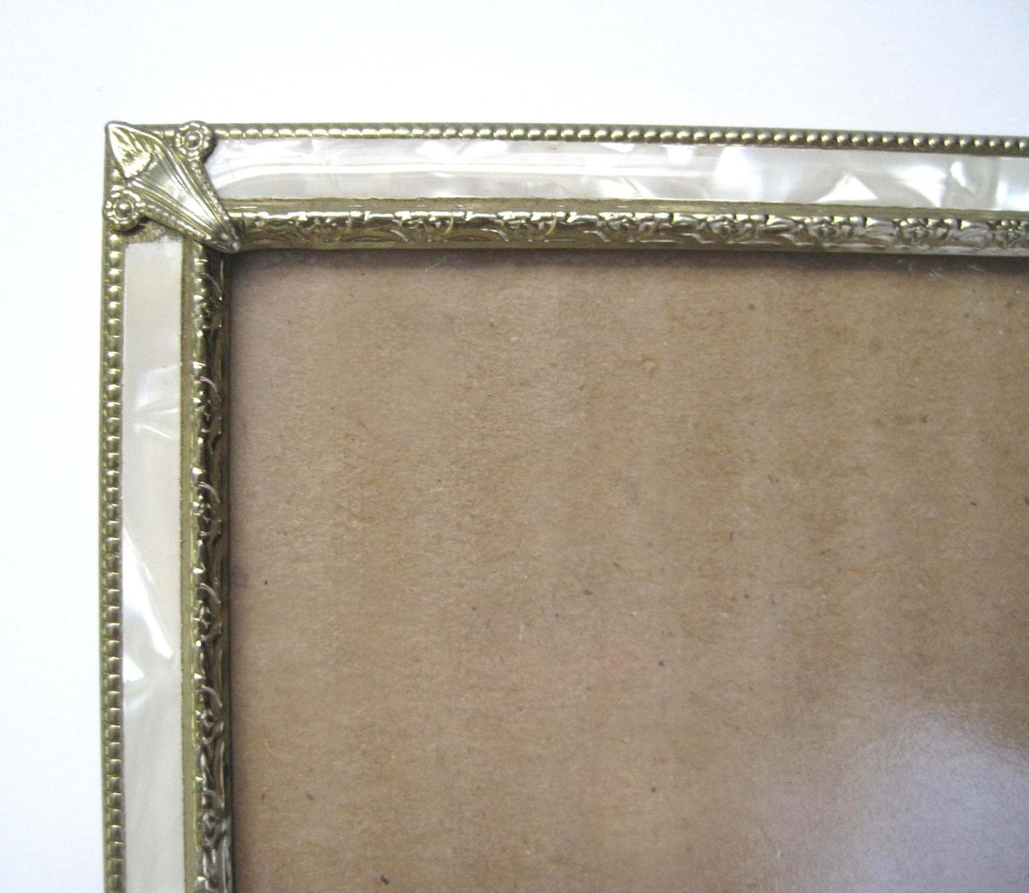 Vintage Frame 1950s Faux Mother Of Pearl With Gold Trim 8 X Etsy Vintage Frames Frame Gold Trim