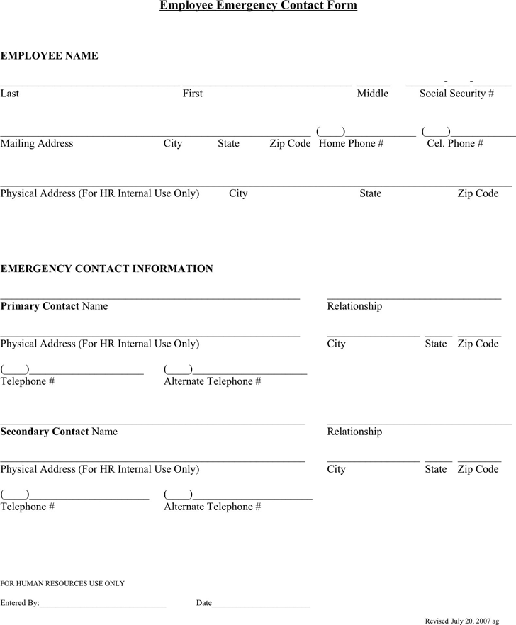 employee emergency contact form 1