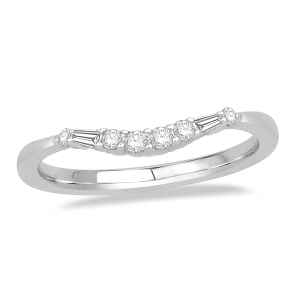 Curved Round And Baguette Band Platinum Wedding