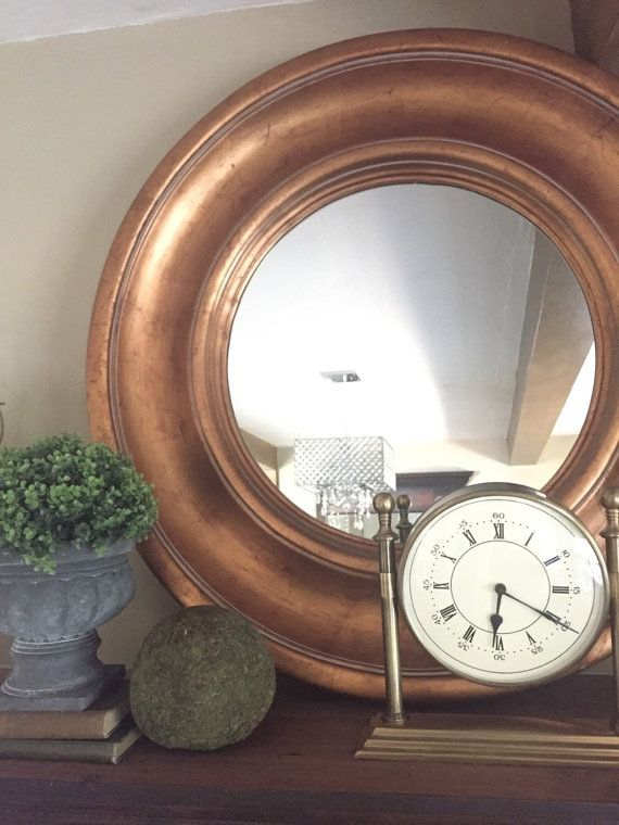 Large Gold Foil Round Mirror 42 Inch Frame Custom By Farmhousefare