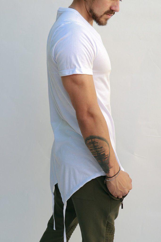 ed002ef43acbe Camisetas Para Hombre - Camiseta Blanca Colas Partidas – urbanwearco ...