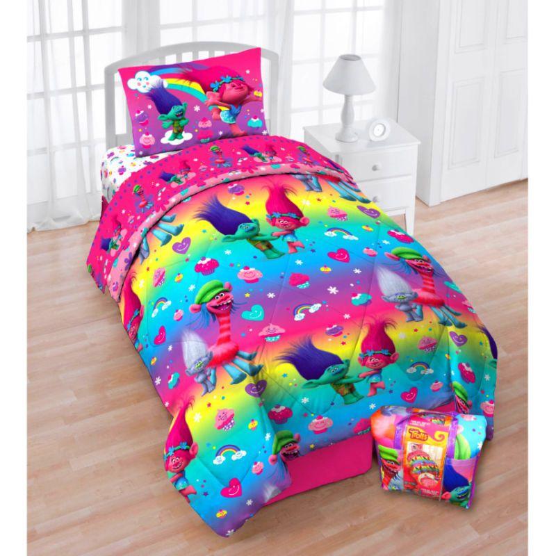twin size comforter bedding trolls rainbows 4piece bed