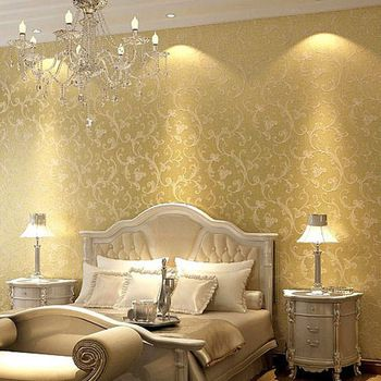 Classic victorian non woven bedroom textured glitter wallpaper ...