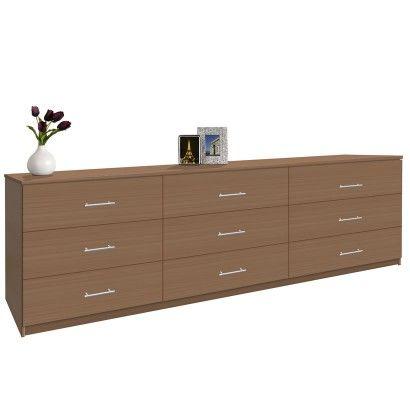 Modern 9 Drawer Triple Dresser 8 Feet Long Long Dresser