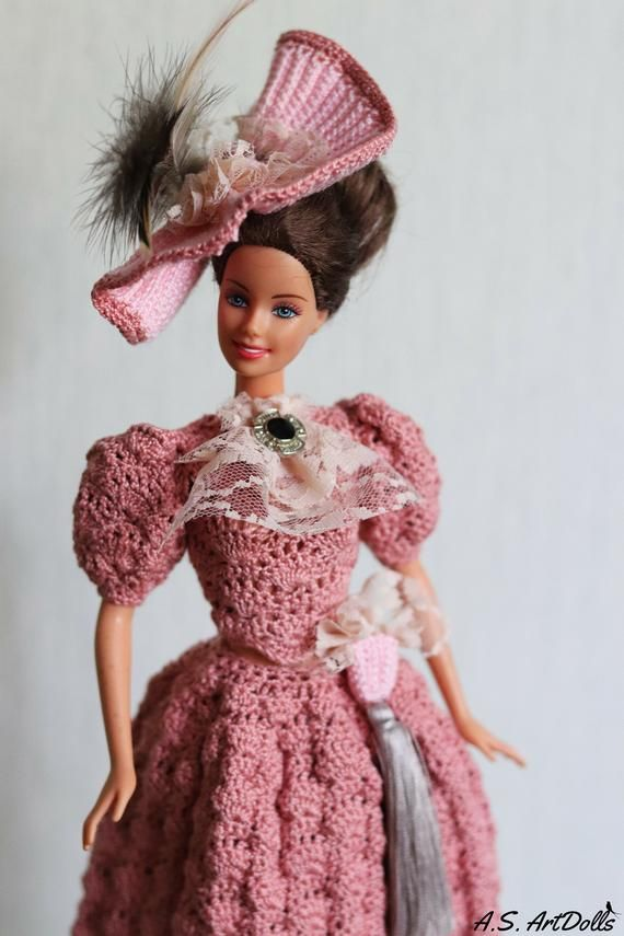 Doll dress Crochet doll dress Visiting doll dress - Historical doll dress Barbie gown Barbie clothes Barbie gown #historicaldollclothes