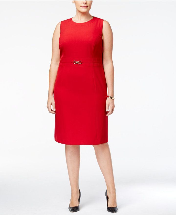 Kasper Plus Size Belted Stretch Crepe Sheath Dress Red 24w