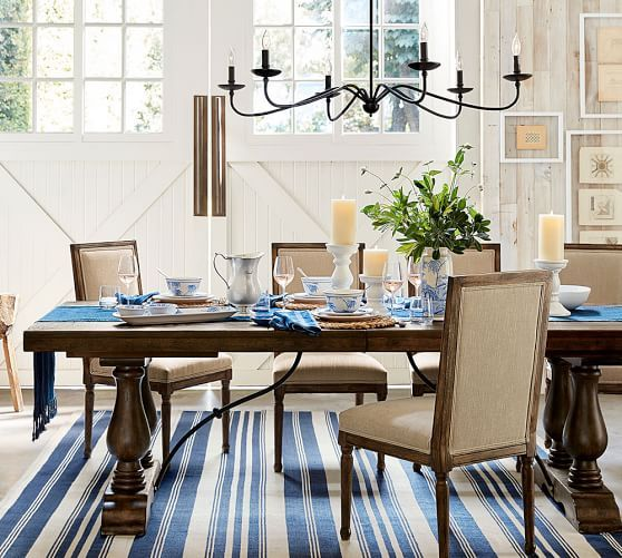 Incroyable Pottery Barn LORRAINE EXTENDING DINING TABLE Rustic Brown, Rustic  Chandelier, Blue And White Stripe Rug And Barn Doors // Pottery Barn  Customer Appreciation ...
