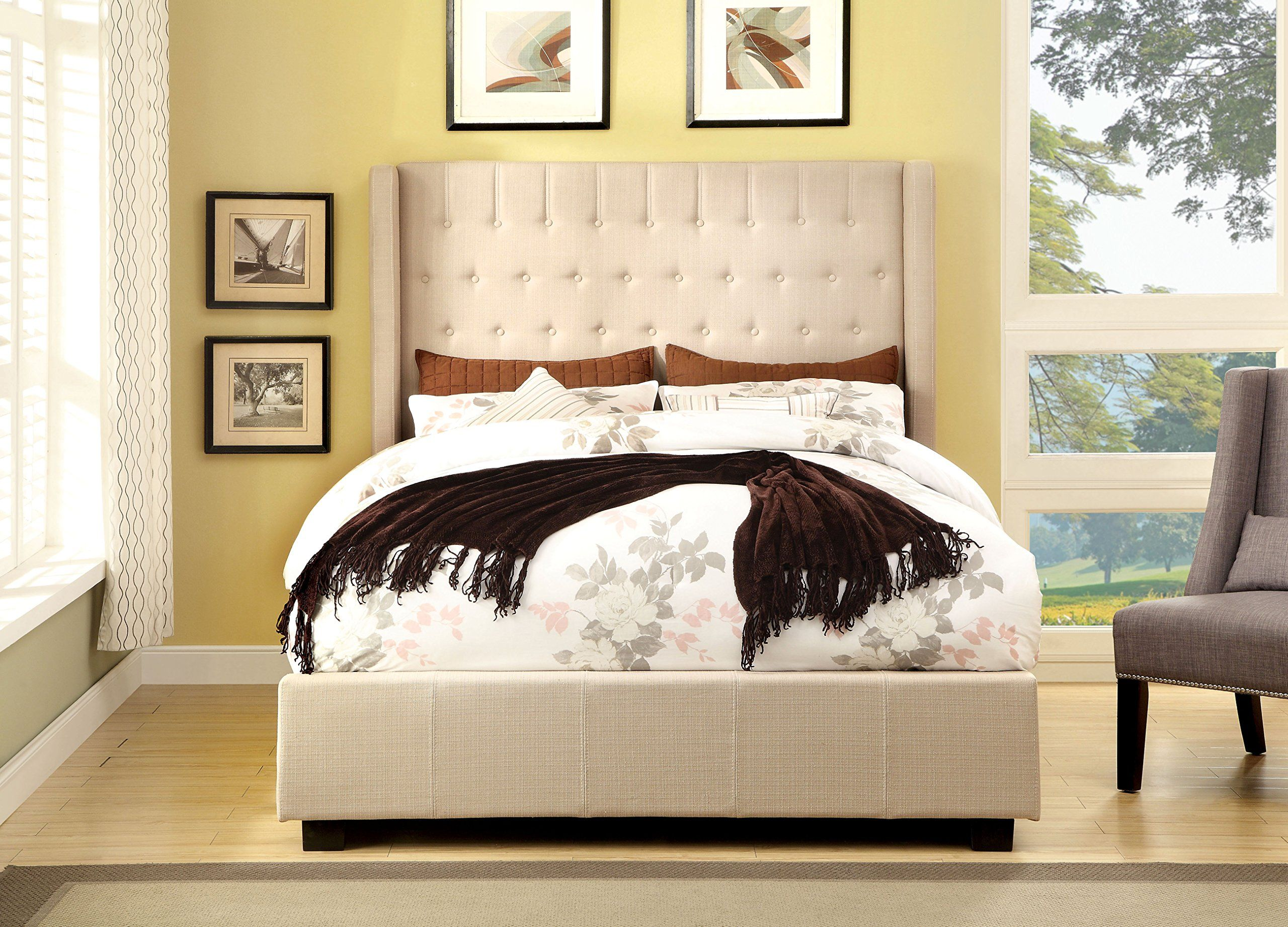 Furniture of America Bellavie Wingback Platform Bed with