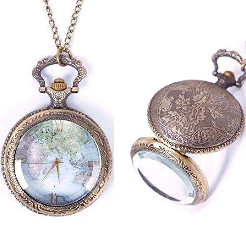 Eachbid Smart applied Vintage Retro World Map Pattern Quartz Chain Pendant Pocket Watch Necklace 02 - Jewelry For Her