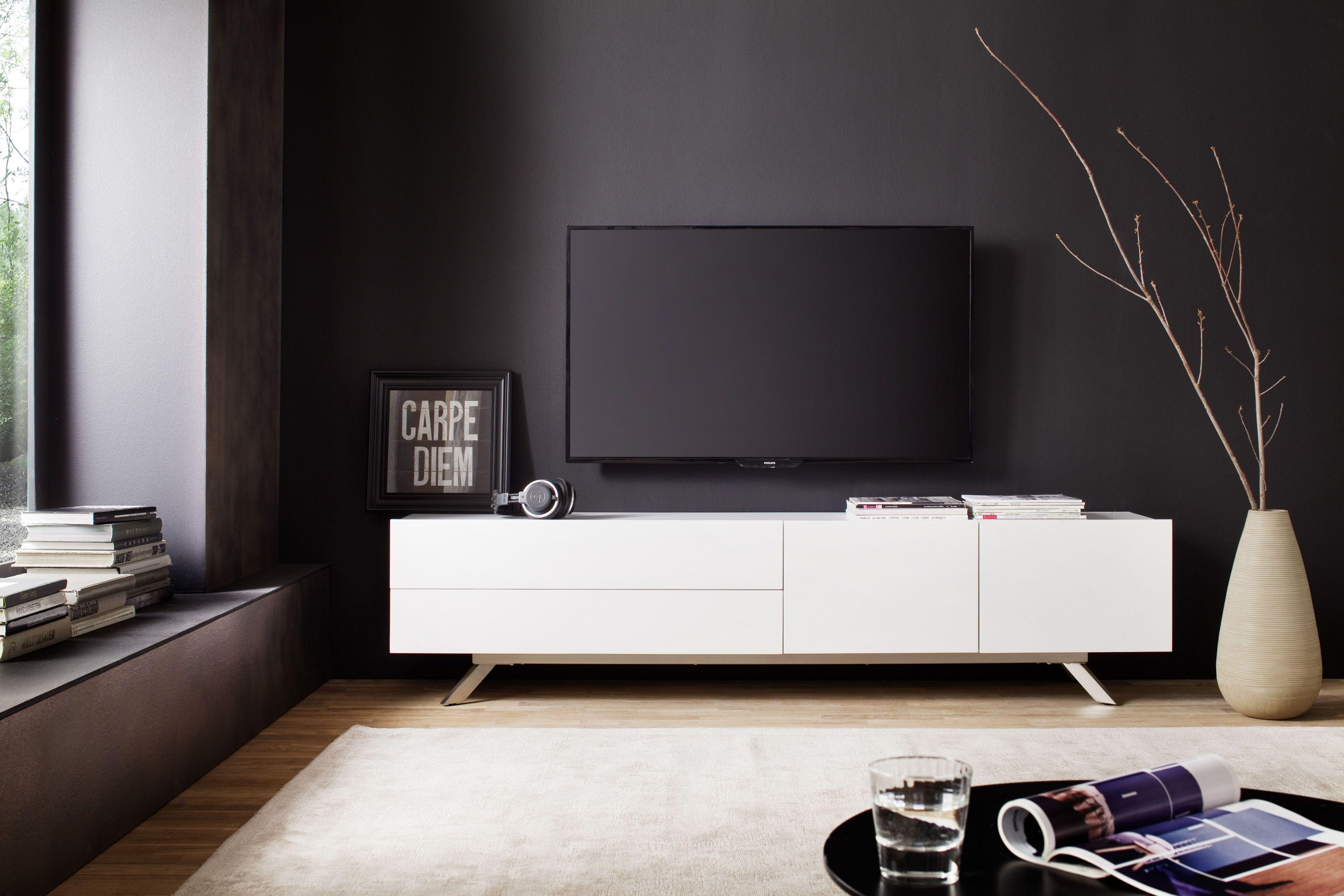 Tv-Lowboard Weiss Matt Lackiert Woody 41-02606 Holz Modern Jetzt ...