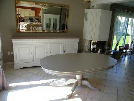 meubles salle manger merisier peints gris clair