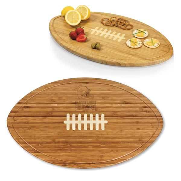awesome Cleveland Browns Engraved Kickoff Cutting Board Natural Wood