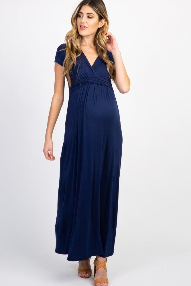dfe5f0741ddb9 Tall Navy Draped Maternity/Nursing Maxi Dress in 2019 | Clothing ...