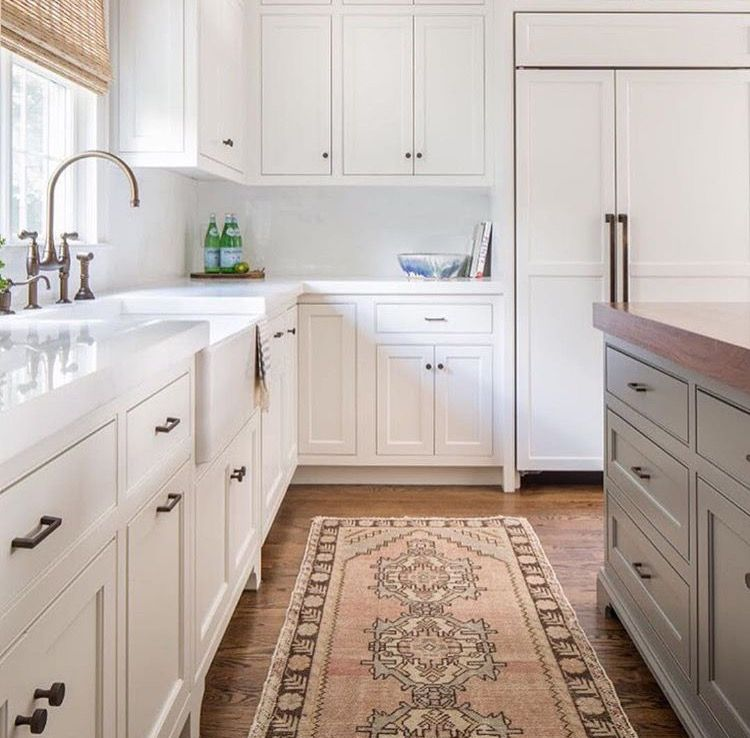 White Kitchen Cabinets Set: This Set Up, White Cabinets, Butcher Block/grey Island
