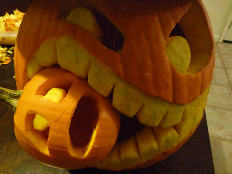 Step By Step Instructions On How To Make A Cannibalistic Pumpkin