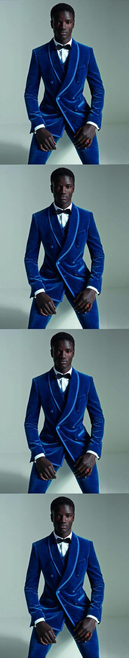 Jacket+Pants+Vest) Royal Blue Velvet Men Suit Fashion Double ...