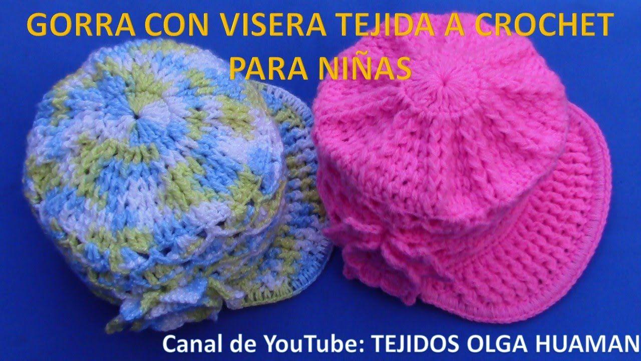 f2eade468 Gorra con Visera para niñas tejida a crochet