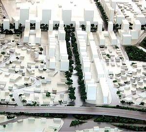 Operação Urbana Vila Sônia. Plano-Referência de Intervenção e Ordenação Urbanística: Pólo Vila Sônia: maquete de conjunto [SEMPLA/PMSP]