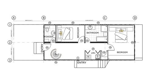 Sch12 4 x 40ft double storey cantilever home image - 40 shipping container home plans ...