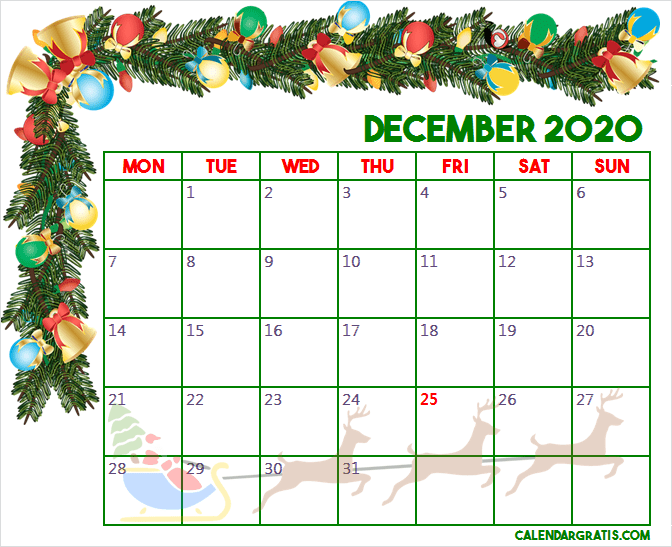 December Christmas 2020 Calendar December 2020 Christmas calendar template in 2020 | Calendar