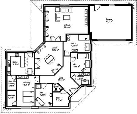 Grundriss Haus pläne, Winkelbungalow grundriss