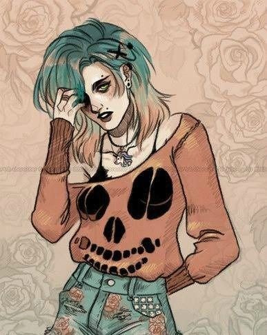 Alternative Art Color Draw Girl Skull Tumblr The I Don