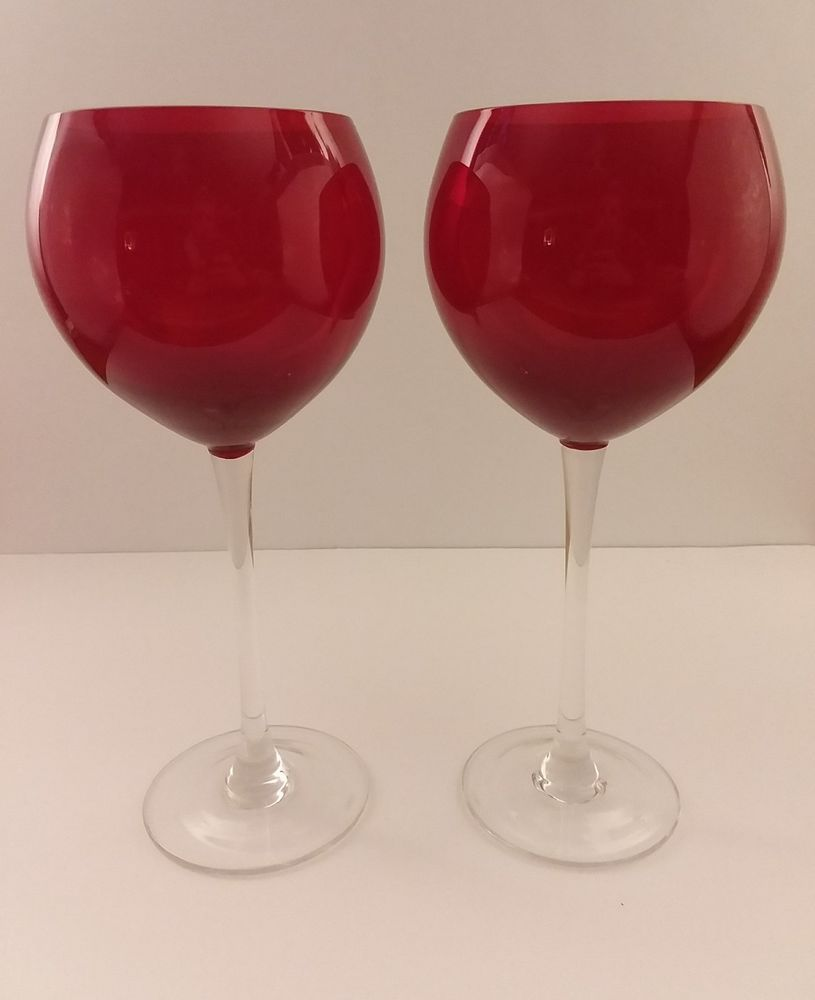 Pair Of Vintage Lenox Ruby Red Balloon Wine Glasses