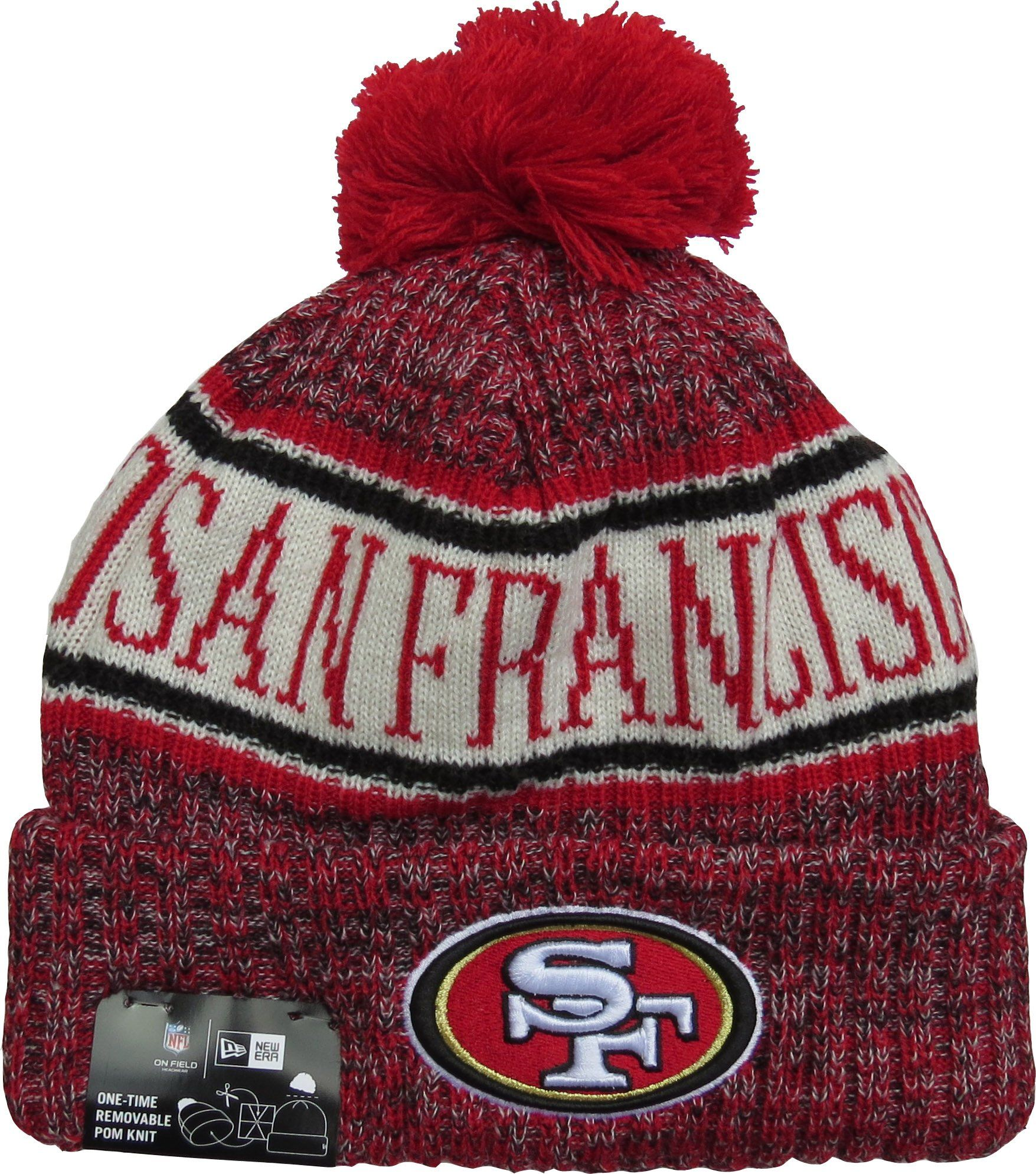 bfbd054d5 San Francisco 49ers New Era NFL On Field 2018 Sport Knit Bobble Hat –  lovemycap