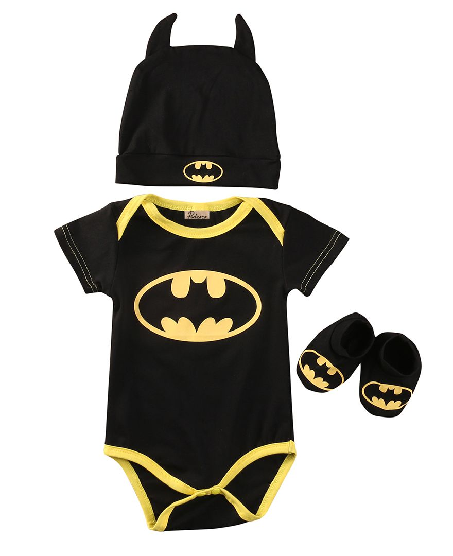f73fbbc856875 Cool cool cute Fashion Newborn Baby Boys Batman Cartoon Cotton Tops  Romper+Shoes+Hat 3Pcs Outfits Set Clothes - $11.31 - Buy it Now!