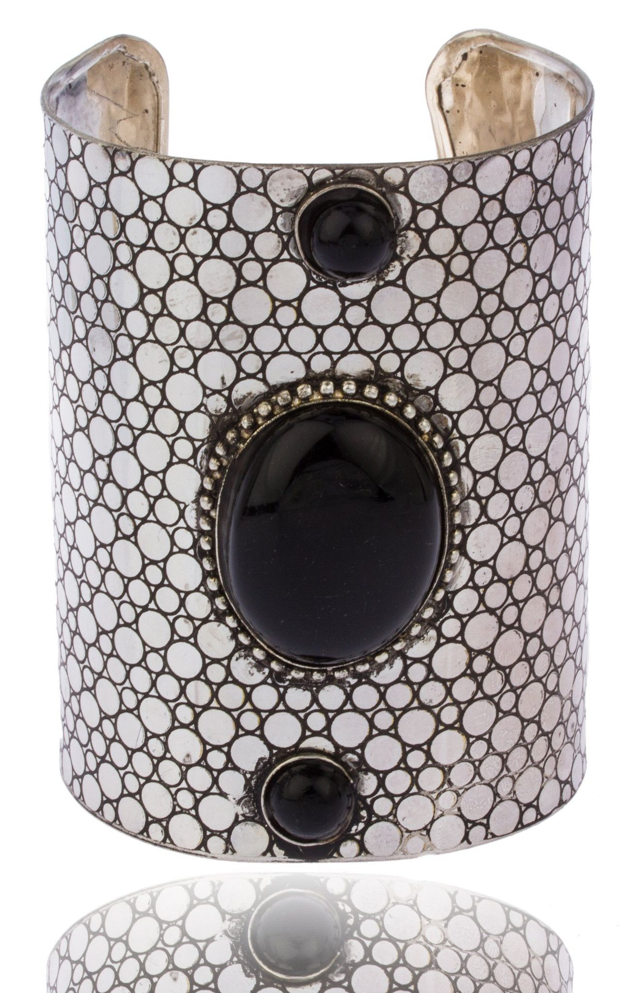 Silvertone with Black Antique Hammered Design 4 Inch Adjustable Cuff Bangle