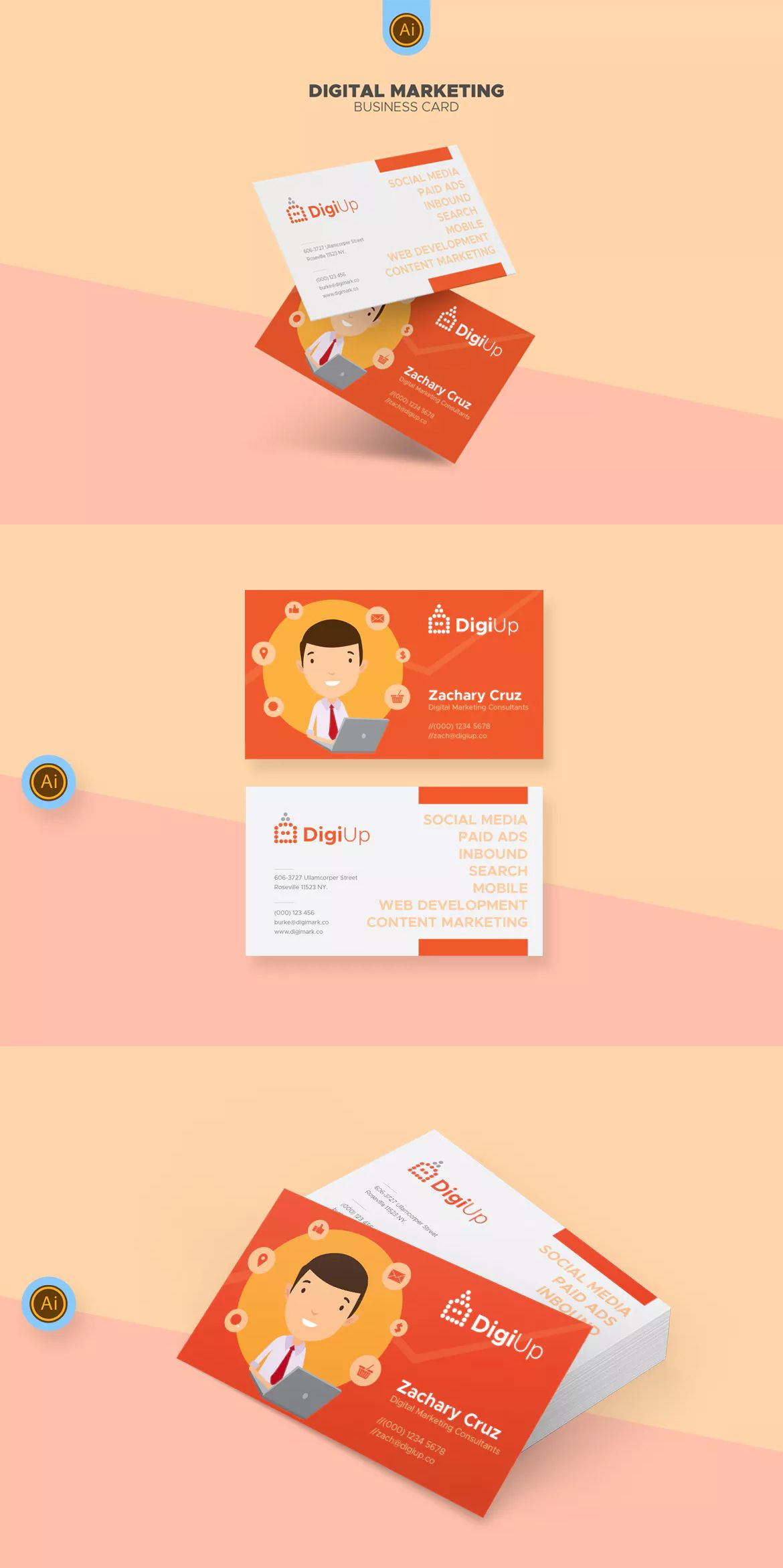 Digital marketing business card template ai business card digital marketing business card template ai cheaphphosting Image collections
