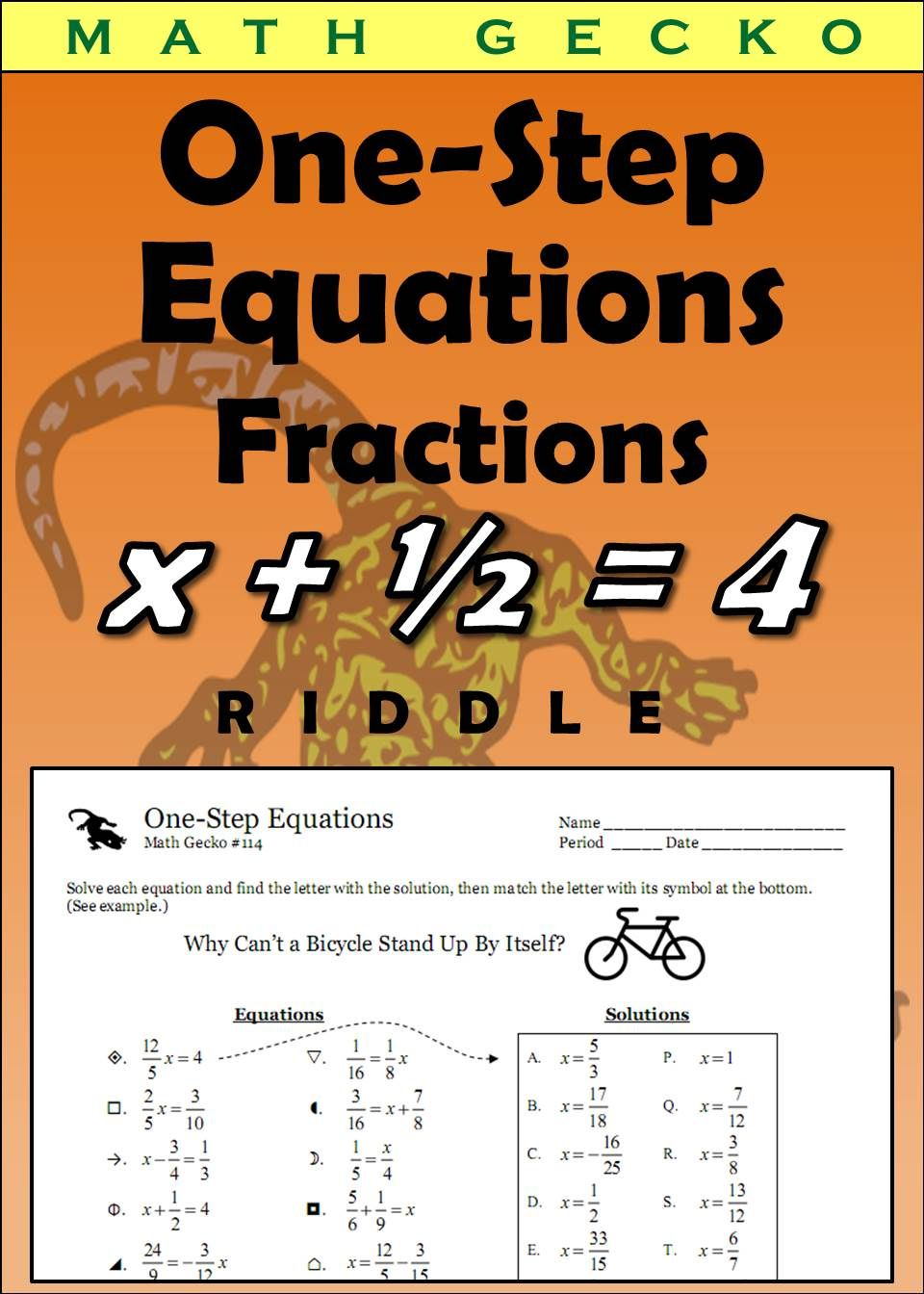 114 - One-Step Equations (Fractions) Riddle | Math Worksheets ...