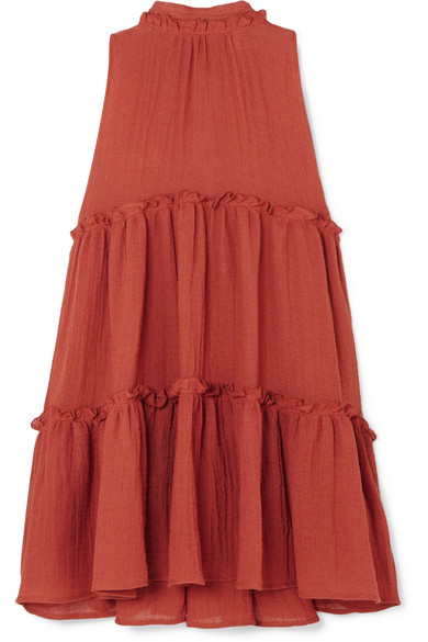 Lisa Marie Fernandez  Erica Ruffled Tiered Linenblend Mini Dress  Papaya - Nice dresses, Lisa marie fernandez, Fashion, Linen blend, Career fashion, Dress outfits - Lisa Marie Fernandez's 'Erica' mini dress is the perfect choice for your next vacation  Cut from tiers of breathable linenblend in a papaya hue that complements all skin tones, it's detailed with pretty ruffles and neck tie  The loose silhouette will make you feel cool and comfortable when temperatures soar
