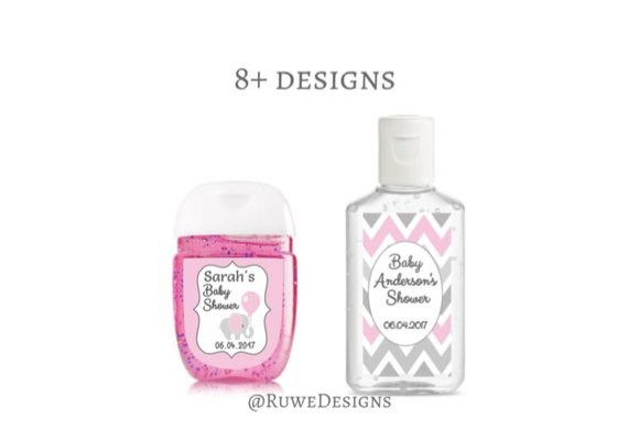 Pink Gray White Customized Hand Sanitizer Labels For Baby