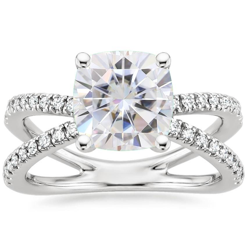18k White Gold Moissanite Bisou Diamond Ring 1 3 Ct Tw Baguette Diamond Rings Round Diamond Ring Rose Gold Diamond Ring