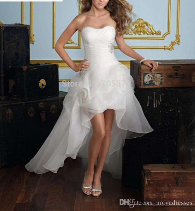 Suosikki 2017 High Low Short Front Long Back Beach Wedding: This Would Be Cute With Cowgirl Boots! (With Images