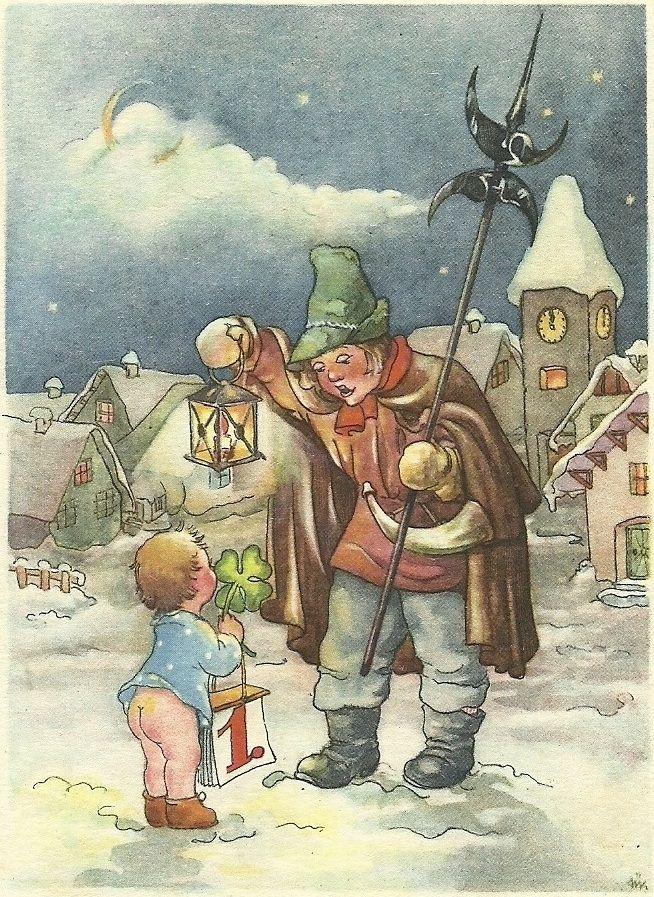 vintage German Happy New Year postcard   New year postcard ...