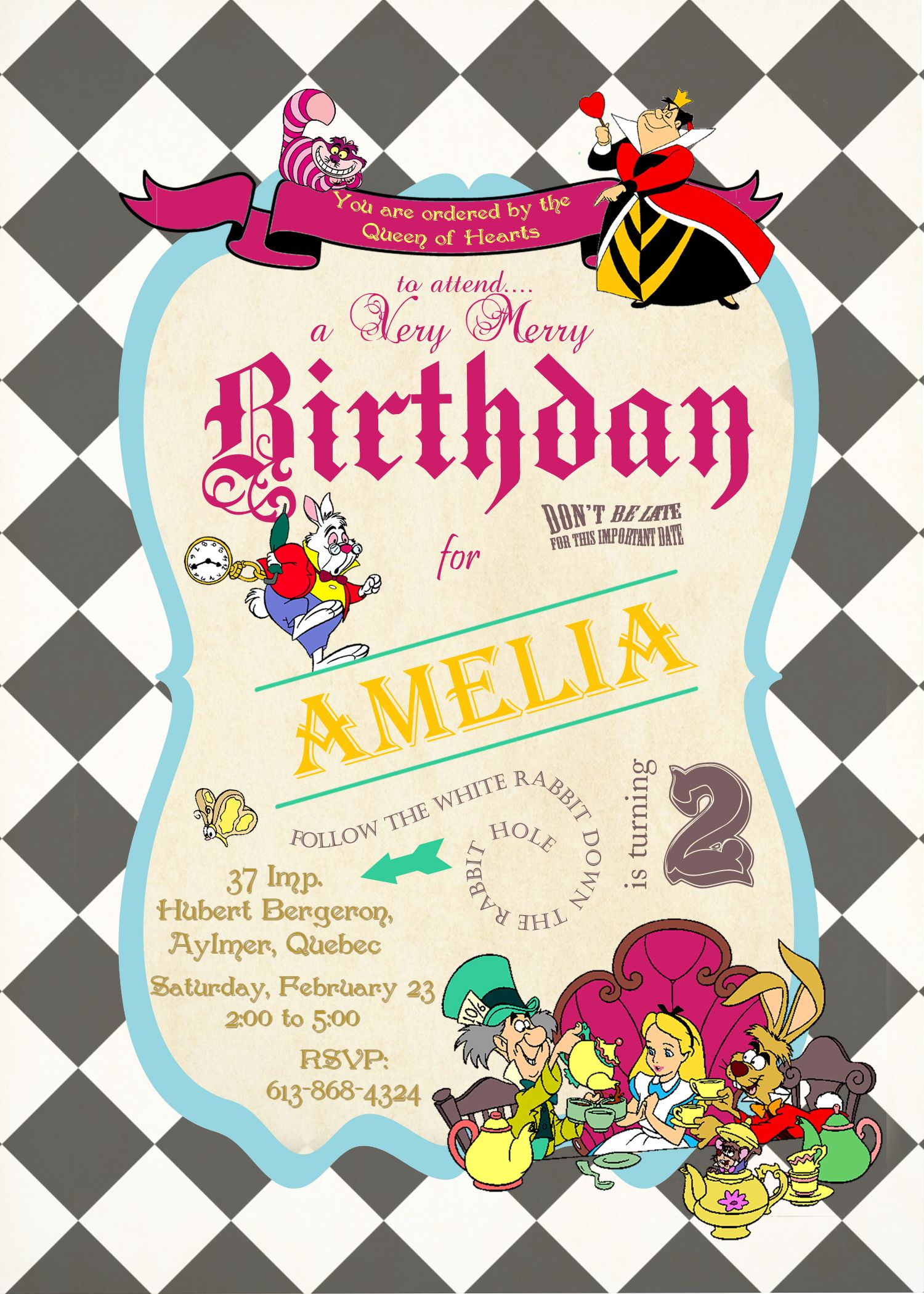 queen of hearts alice in wonderland invitations