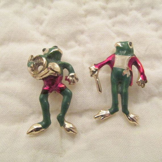 Vintage Brooch Set of Musical Frogs by rarefinds4u on Etsy, $25.95