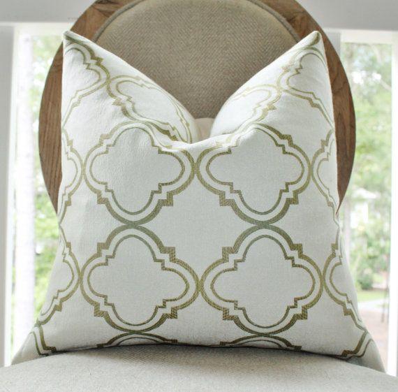 Designer Green Pillow - Ivory Olive Green Cream Moroccan Geometric Pillow Cover - Quatrefoil Pillow - Decorative Throw Pillow