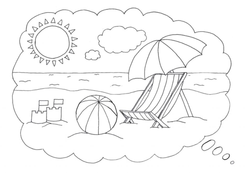 The Sea Side Coloring Page With Beach Ball For Kids Letscolorit Com