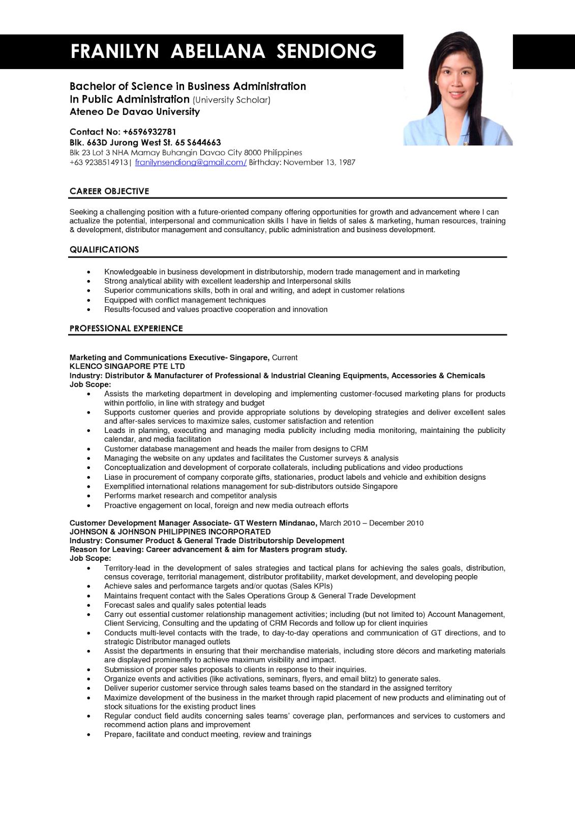 Business Administration Resume Samples