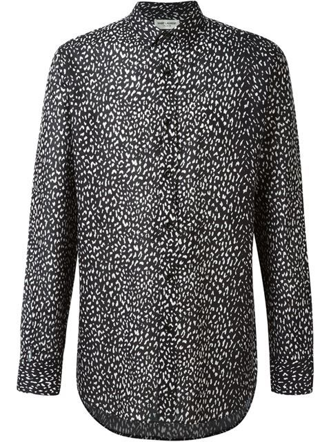 Signature Yves Collar Shirt In Black And White Babycat Printed Cotton Voile  | Animal print shirts and St laurent