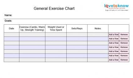 Blank Exercise Charts  Exercise Chart Exercises And Gym