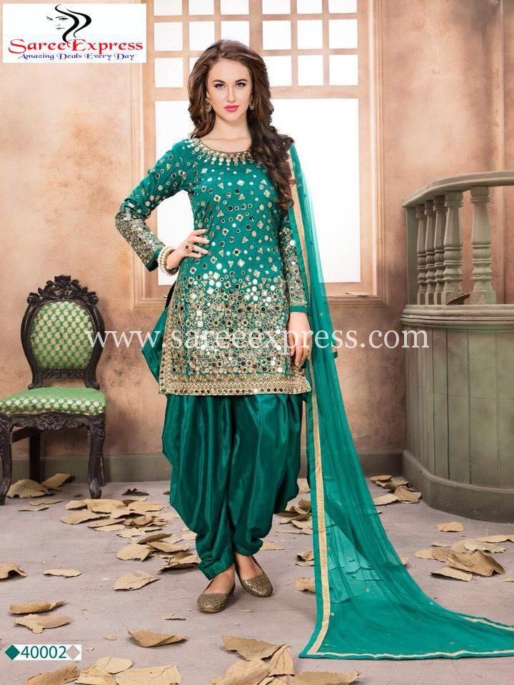 01d469af0c Green Tapeta Silk Mirror Work Patiala Suit 40002   SALWAR SUITS ...
