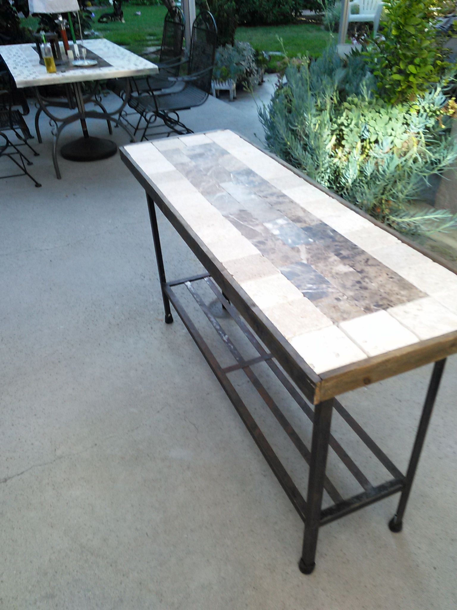 Outside Sofa Table Serving Table From Wrought Iron Base Free Find