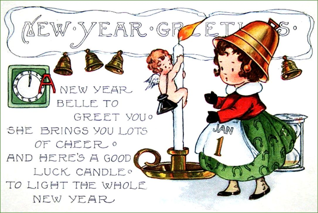 vintage new year postcards little girl with bell hat and sweet new years poem