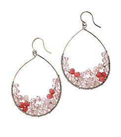 BT-Jeweled Open Teardrop Beaded Earrings