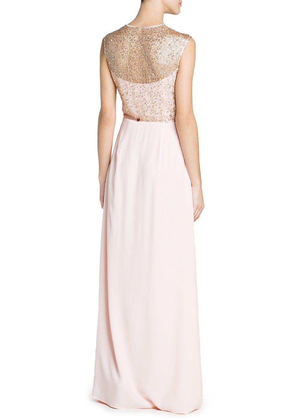 Lange crêpe jurk met lovertjes - Dames | Pink bridesmaid dresses uk ...