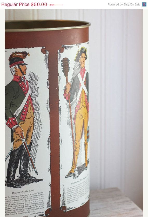 ON SALE Trash Can, Soldier, Military, Vintage Garbage Can, Boys Room,